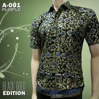 BATIK BLACK GOLD - Batik Murah - Batik Pria A-001 PURPLE
