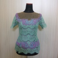 Kebaya Wisuda Damayanti Lengan Pendek Model Dress Kebaya Brokat Modern