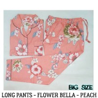 Piyama Big Size  Long Pants Flower Bella Peach | Piyama Besar