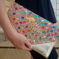 Clutches Wanita Import Kristal Mutiara Merak Hitam Gold Silver