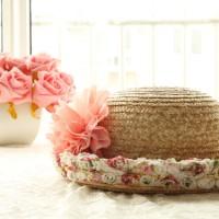 Jual Topi Sun Hat Kebun Jerami Bunga Big Flower Floral Cute Cantik Murah