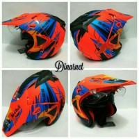 Helm Semi Cross Double Visor Trabas Klx Red Bull Orange Biru Dof
