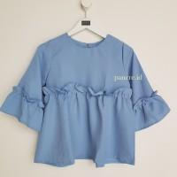 Jual Baju Atasan Blouse Wanita Frill Biru Murah