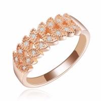 Cincin Berlian Lapis Emas Rose Gold Perhiasan Imitasi Wanita - BR081