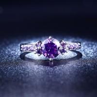 Cincin Berlian Silver Emas Putih Batu Ungu Perhiasan Imitasi - BR076