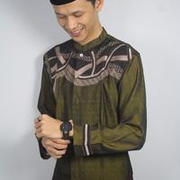 Jual Koko Bordir Warna Hijau Baju Lebaran Model lengan Panjang Katun