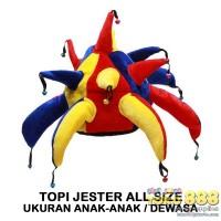 TOPI JESTER / JOKER MERAH KUNING BIRU ONE SIZE FITS ALL (1 BUAH)