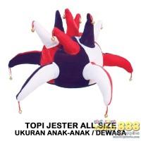 TOPI JESTER / JOKER MERAH PUTIH BIRU ONE SIZE FITS ALL (1 BUAH)