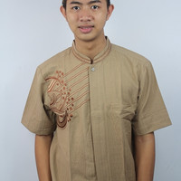 Harga pakaian koko pria bordir bahan katun calista seri az6554 coklat | antitipu.com