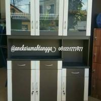 lemari piring rak piring kitchen set minimalis putih hitam MURAH kaca