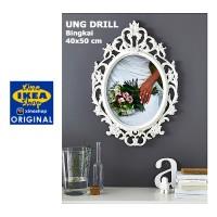 IKEA UNG DRILL Bingkai Lonjong Putih 40x50 cm | Bingkai Ukir Klasik