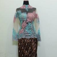 Model Kebaya Modern Baju Wanita Pesta Tile Brokat Lengan Panjang
