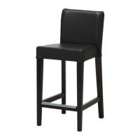 IKEA HENRIKSDAL Kursi bar 63 cm dg sandaran, cokelat-hitam,Glose hitam