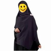 Jual jilbab segi empat jumbo warna hitam polos Murah