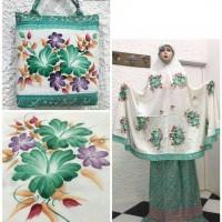 Mukena Lukisan Tangan Asli Handmade Dengan Bawahan Batik, Ekslusif