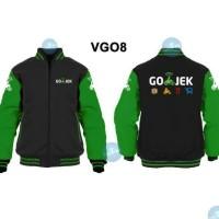 Jaket Sweater Seragam Gojek Keren Model Varsity Zipper VGO8