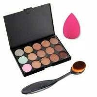 15 Colour Make up Contour Concealer Face Cream Palette Sponge Puff