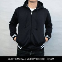 Jual Jaket Sweater Polos Baseball Varsity Hoodie Unisex - Hitam Murah