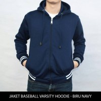 Jual Jaket Sweater Polos Baseball Varsity Hoodie unisex - Biru Navy Murah