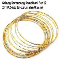 Jual XP1442-ABJ Gelang Keroncong Kombinasi Set 12 Perhiasan Lapis Emas Gold Murah