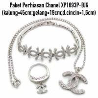 Jual XP1693P-BJG Paket Perhiasan Lapis Emas Putih Aksesoris Wanita Murah