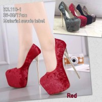 Red Thick Suede High Heel Pumps Import