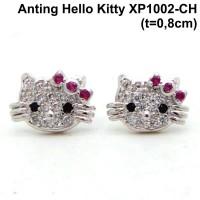 XP1002P-CH Anting Tusuk Hello Kitty Perhiasan Lapis Emas Putih