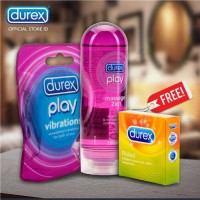 Package= Durex Play Massage 200ml + Vibrations ring + free ribbed 3pcs