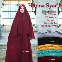 Baju Gamis syari set wolfis modern muslim wanita HANNA Murah