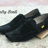 SEPATU PRIA SLIP ON COUNTRY BOOTS MK AMU BLACK