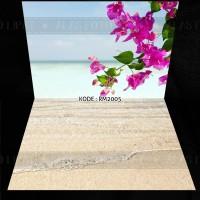 Pompom Alas Foto Lipat Motif Bunga Pink Pantai Pasir A2+ Kode RM2005