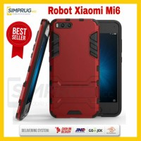 Case HP Xiaomi Mi6 Mi 6 Armor Rugged Robot Ironman Stand Crack Casing