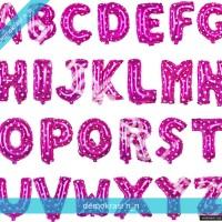 Jual balon pink alphabet huruf hati foil pesta Murah