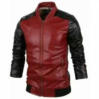 Jaket/blazer semi kulit baseball merah-hitam