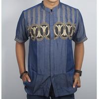 Promo Pakaian Muslim Pria Baju Koko Lengan Pendek Navy Design Stylist