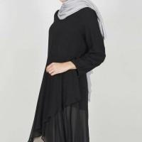 Atasan Muslim Blouse Tunik Tunic Janay Top Black Havva