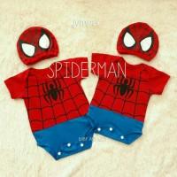 Jual Jumper Bayi Spiderman + Topi Lucu Spider Baju Jumpsuit Kostum Baby Murah