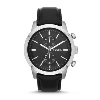 Jam Tangan Pria Fossil FS4866 Townsman Chronograph Black Leather Watch