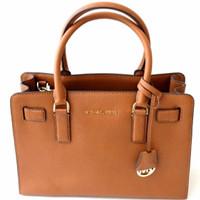 Michael Kors Dillon Medium Saffiano Leather Satchel Luggage - Cokelat