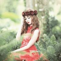 Jual Flower Crown Gothic Rose Maroon Murah
