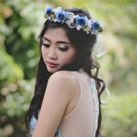 Jual Flower crown mawar biru Murah