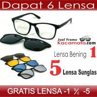 harga Frame Kacamata Minus Baca Clip On 5 Lensa Sunglas Hitam Pria Polarized Tokopedia.com