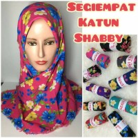 jilbab hijab kerudung segiempat katun shabby motif bunga rawis