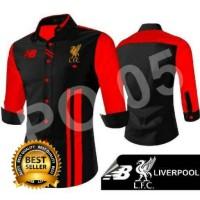 Jual Kemeja Casual Pria/ Kemeja Bola Liverpool Type B1 Black Red Murah