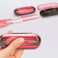 Jual 1 Set Alat Makan Portable Lipat Travel / Transparan Set Sendok Garpu Murah