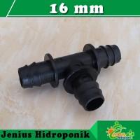 Tee Connector 16 mm, Penyambung Bentuk T Selang PE 16 mm ke 16 mm