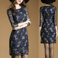 Midi Party Dress Baju Gaun Pesta Malam Lengan Euro Fashion 17260 IDW