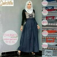 Jumpsuit Long Dress Maxi Wanita Katun Chunky XL overall biru merah abu