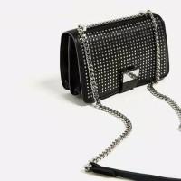 Jual Tas Zara Mini Studded Crossbody Black Sling Bag Import Murah Murah