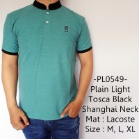 Jual Baju Kaos Berkerah Distro Plain Light Tosca Black Shanghai Neck - 549 Murah